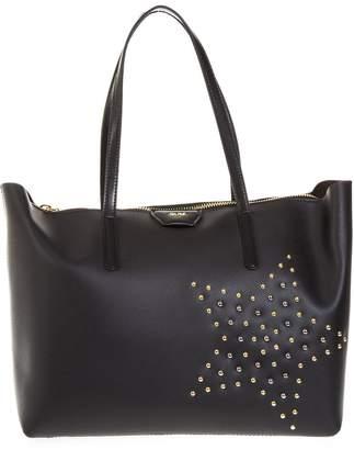 Gianni Chiarini Black Gum Rubber Shopping Bag With Mini Studded Star