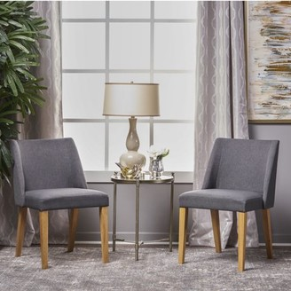 Noble House Jolene Modern Contemporary Fabric Side Accent Chairs, Set of 2, Charcoal