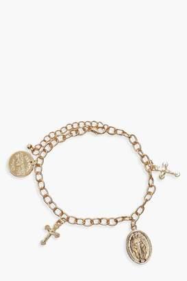 boohoo Cross & Sovereign Charm Bracelet