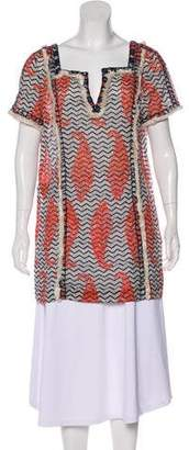 Tory Burch Fringe-Trimmed Printed Tunic