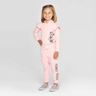 Disney Toddler Girls' Minnie Mouse Hooded Sweatshirt and Kangaroo Pocket Joggers Set - Pink