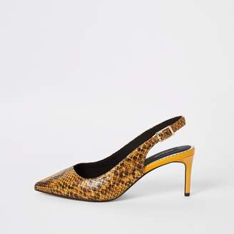 a330b3cf288e River Island Womens Yellow snake wide fit slingback court shoes