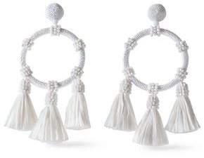 Oscar de la Renta Gold-Tone Bead Cord And Tasseled Raffia Earrings