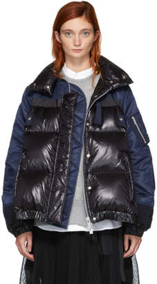 Sacai Black and Navy Down MA-1 Combo Puffer Jacket