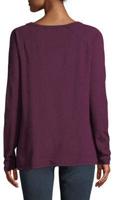 NYDJ Slash-Front Long-Sleeve Sweater