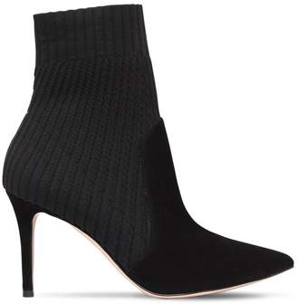 Gianvito Rossi 85mm Ribbed Knit & Suede Ankle Boots