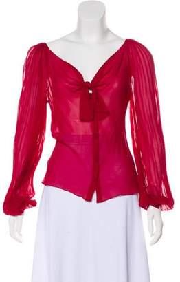 Alberta Ferretti Pleated Silk Top