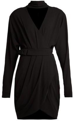 Versace Wrap Front Stretch Crepe Mini Dress - Womens - Black