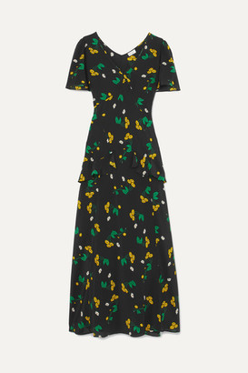 DAY Birger et Mikkelsen RIXO London - Evie Ruffled Floral-print Silk-crepe Maxi Dress - Black