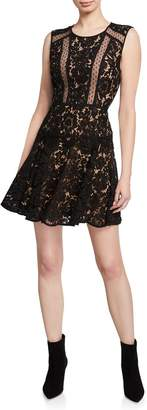 BCBGMAXAZRIA Fit-&-Flare Lace Mini Dress
