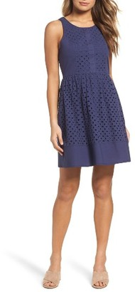 Women's Nsr Eyelet Fit & Flare Dress $88 thestylecure.com