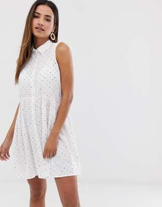 Stradivarius sleeveless spot print shirt dress in white