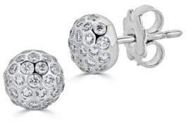 Saks Fifth Avenue Ideal-Cut Disco Ball Diamond and 14K White Gold Stud Earrings
