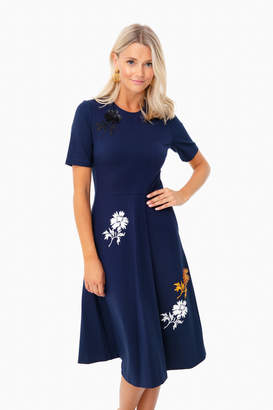 Tory Burch Tory Navy Embellished Ponte Dress