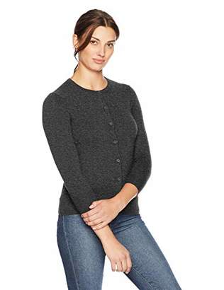 Lark & Ro Women's 100% Cashmere Three Quarter Sleeve Crewneck Cardigan Sweater