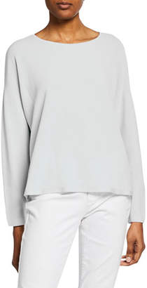 Eileen Fisher Plus Size Jewel-Neck Long-Sleeve Top