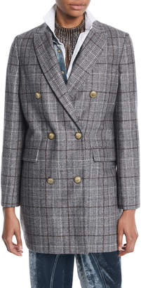 Brunello Cucinelli Double-Breasted Quilted Plaid Wool Coat w/ Gold-Coated Buttons