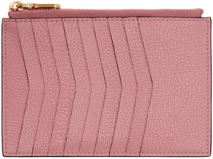 Miu MiuMiu Miu Pink Heart Multi Card Zip Pouch