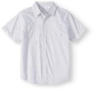 Beverly Hills Polo Club Big Boys' Woven Printed Short Sleeve Shirt With Front Pockets