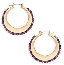 Ava & Aiden Goldtone Amethyst Hoop Earrings