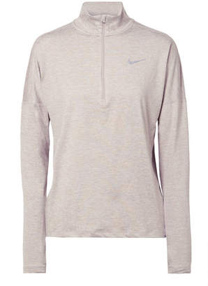 Nike Element Mesh-paneled Dri-fit Stretch-jersey Top - Beige