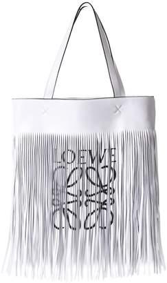 Loewe Paula Fringed White Leather Tote