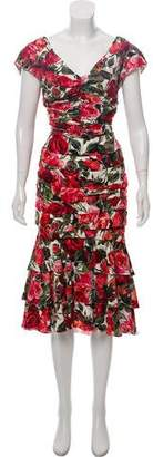 Dolce & Gabbana 2017 Silk Rose Print Dress