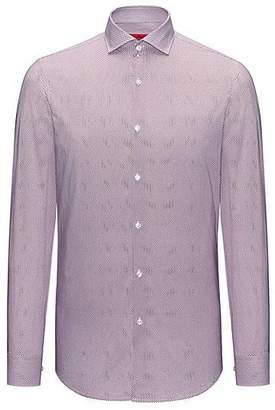 HUGO BOSS Micro-patterned cotton shirt in a slim fit