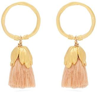 Elise Tsikis - Oxya Gold Plated Tassel Hoop Earrings - Womens - Pink