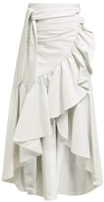 Rodarte Asymmetric Ruffled Leather Skirt - Womens - White