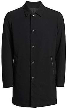Saks Fifth Avenue Reversible Leather Collar Topcoat