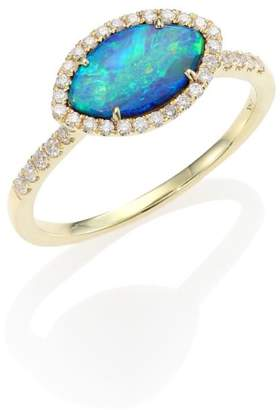Meira T Opal, Diamond & 14K Yellow Gold Marquise Ring