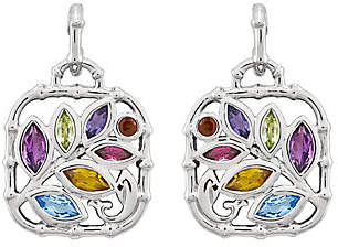 QVC Sterling Multi-Gemstone Bamboo-Style Post Dangl e Earrings