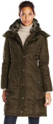 London Fog Women's Chevron Down Coat with Fur Trim Neck