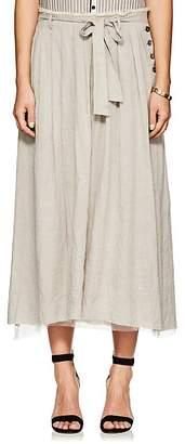 Pas De Calais Women's Striped Linen-Blend Pleated Midi-Skirt