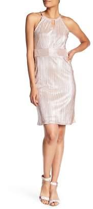 Nine West Metallic Crinkle Halter Dress