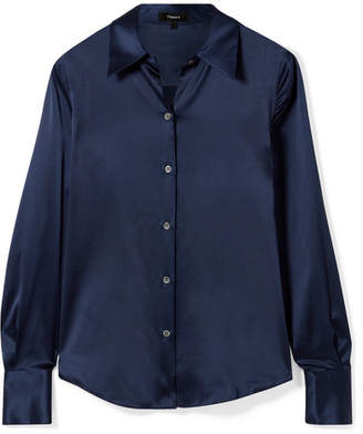 Theory Perfect Stretch-silk Satin Shirt - Navy