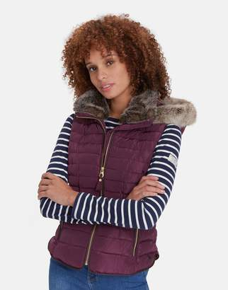 Joules Clothing Melbury Padded Gilet With Fur Hood Trim