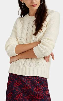Barneys New York Women's Pom-Pom Cable-Knit Merino Wool-Blend Sweater - Ivorybone