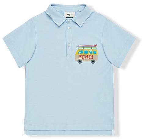 surfing van print polo shirt
