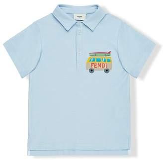 Fendi surfing van print polo shirt
