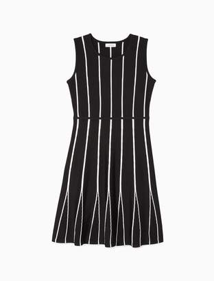 Calvin Klein Striped Sleeveless A-Line Dress