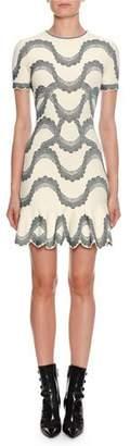 Alexander McQueen Short-Sleeve Jewel-Neck Victorian-Bead Jacquard Mini Dress