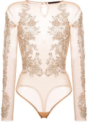 sequin embellished sheer bodysuit