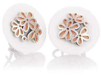 Breuning Rose Gold Plated Sterling Silver White Corian Flower Drop Earrings