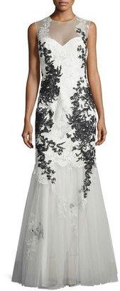 Rickie Freeman for Teri Jon Sleeveless Illusion Lace Applique Mermaid Gown $1,180 thestylecure.com