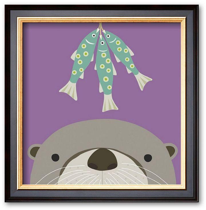 "Art.com Peek-a-Boo Otter"" Black Framed Art Print By Yuko Lau"