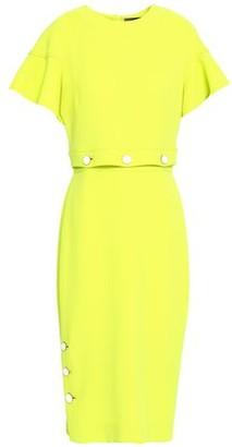 Lela Rose Button-detailed Wool-blend Crepe Midi Dress
