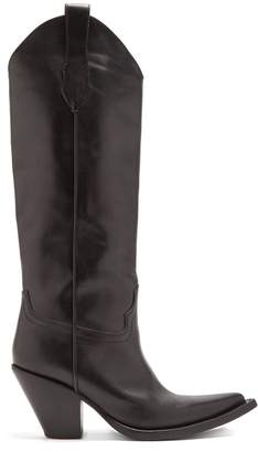 Maison Margiela Point-toe knee-high leather boots
