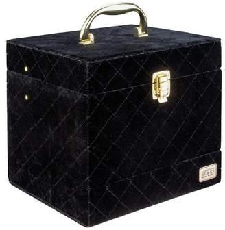 S.O.H.O New York Black and Gold Quilted Velvet Vanity Case